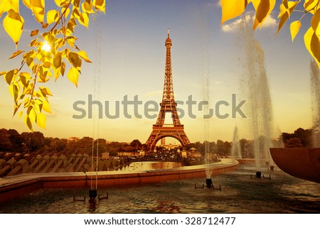 Eiffel Tower  with fountains. Beautiful sunset landscape in Paris.