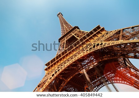 Eiffel Tower with lens flare and copy space. #405849442