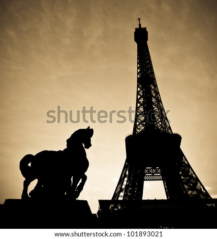 Picture Eiffel Tower on Stock Photo   Eiffel Tower With The Stone Sculpture Of Horse