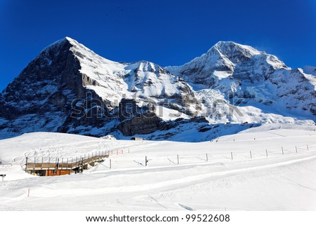 Eiger and Monch peaks, Alps, Switzerland, Europe