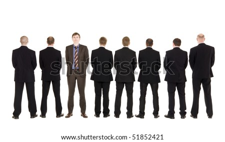 Eight anonymous men and one serious boss