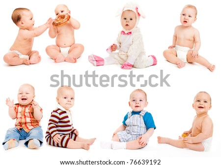 Eight babies sitting, over white