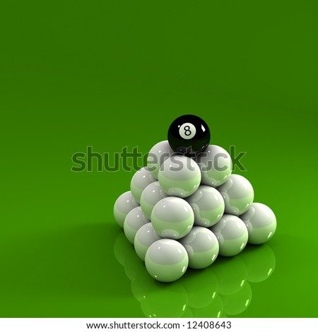 Eight ball on top of a pyramid of white pool balls