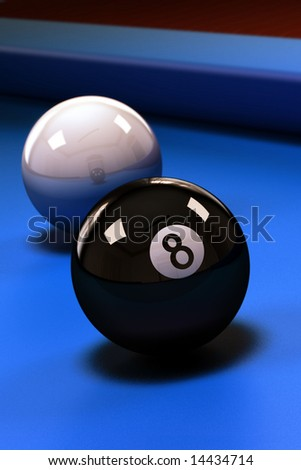 Eight ball with white pool ball on blue pool table