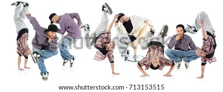 Eight beakdancers pose isolated on white, collage with one model #713153515