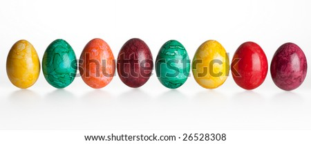 Eight colored eggs on a white background