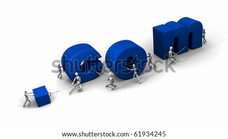 Eight 3D mannequins pushing and pulling letters to form the word '.com' in blue.