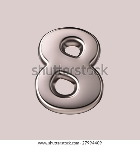 Eight - 3d silver number