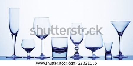 Eight different glasses in blue