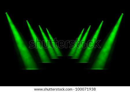 Eight green receding foggy spotlight beams in two symmetrical rows of four with good sense of diminishing perspective