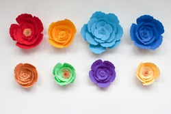 Eight handmade colorful paper flowers in rainbow colors on white background