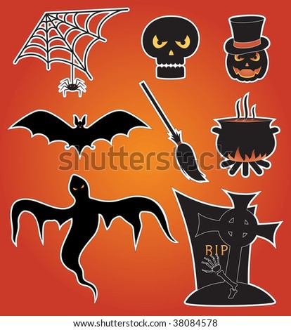 Eight icons for Halloween, illustration
