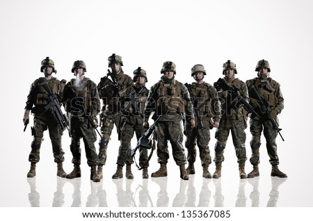 Stock Photo Eight isolated U.S. Marines. on the smooth floor