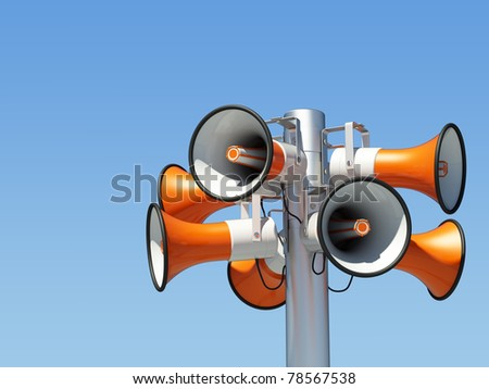 eight loudspeaker mounted on a mast / eight loudspeaker / on blue sky