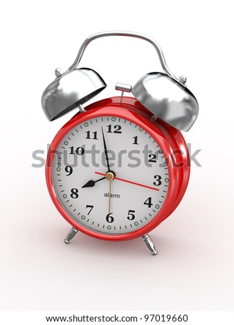 Eight o'clock. Old-fashioned alarm clock on white background. 3d