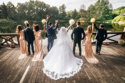 Eight people raised their hands at the wedding