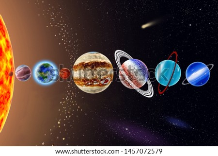 Eight planets of the solar system - a Mercury, Venus, Land, Mars, Jupiter, Saturn, Uranus, Neptune on background Sun and starry sky