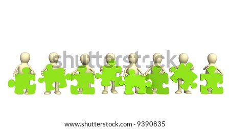 Eight puppets, holding in hands a puzzle of green color. Objects over white