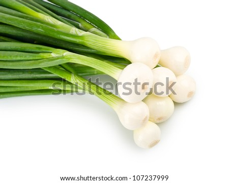 Eight ripe beautiful spring onions closeup isolated on a white background