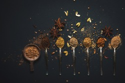 Eight speculaas spices on a silver spoon, top to bottom Cinnamon, White pepper, Cloves, Staranice, Kardemon, Coriander seeds, Mace, Nutmeg on a dark background top view,