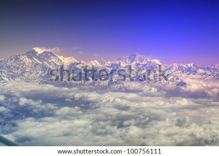 Eight thousanders seen from Air, Himalayas Range, Nepal
