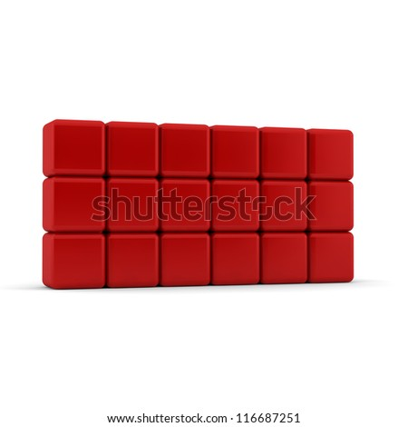 Eighteen 3d simple red cubes with blank faces and equilateral sides that are bevelled , rounded and shaped stacked one on top of the other in a rectangular 3x6 formation on a white background