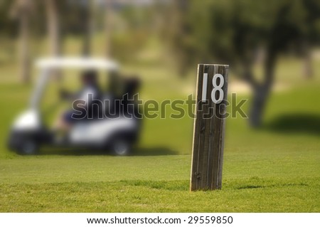 Eighteen hole of a golf course in Algarve, Portugal - stock photo