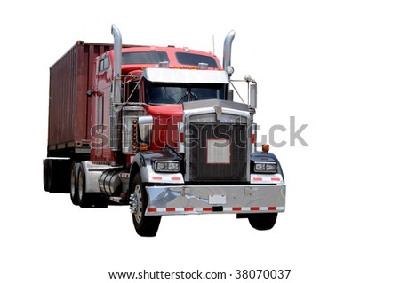 Eighteen wheeler isolated on a white background