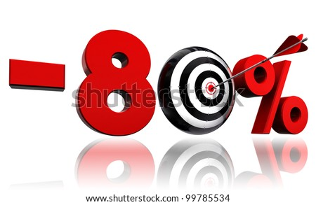 eighty per cent 80% red discount symbol with conceptual target and arrow on white background.clipping path included
