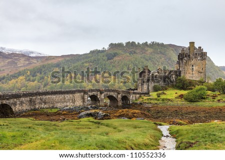 Eilan Donan castle on a grey day in Scotland