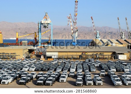 EILAT, ISRAEL - MAY 17, 2015 : cargo port and new cars for sale in Israel  Eilat, Israel on May 17, 2015 Eilat port is located on the coast of the Red Sea
