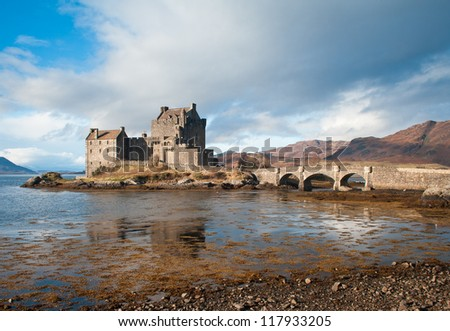 Eilean Donan Castle and Loch Duich - stock photo