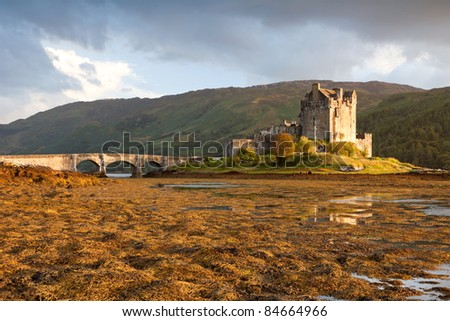 Eilean Donan Castle at sunset, Scotland, UK