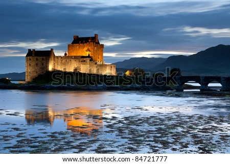 Eilean Donan Castle at twilight, Scotland, UK