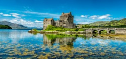 Eilean Donan Castle during a warm summer day - Dornie, Scotland - United Kingdom