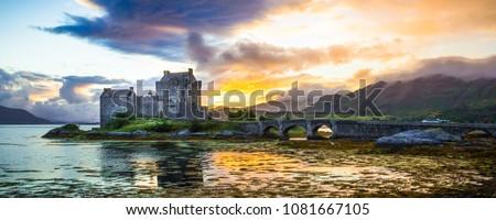 Eilean Donan Castle in Scotland at sunset