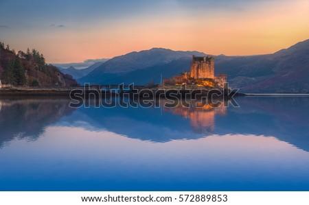 Eilean Donan Castle Panorama. Reflection on Lochalsh. Dornie, Scotland.