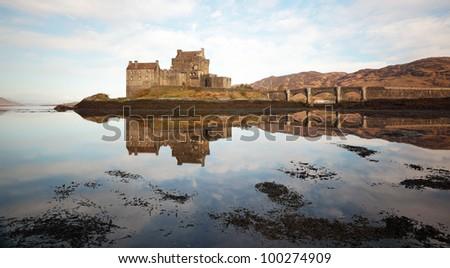 Eilean Donan Castle reflecting on Loch Duich from the isle of Skye.