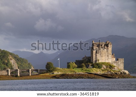 Eilean Donan Castle, situated on an island in Loch Duich on the road to Skye in the Scottish Highlands and surrounded by breathtaking mountain scenery; one of the most inspiring sights in Scotland.