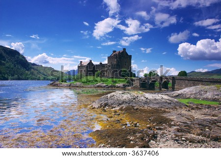 Eilen Donan Castle in Scotland lays at the meeting point of three sea lochs (Duich, Alsh and Long) and is one of Great Britains most emblematic visitor attractions. - stock photo