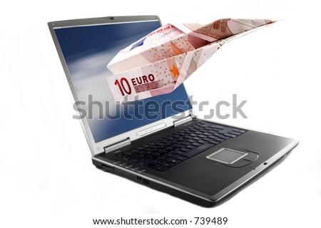 Eine Papierfläche gebildet mit einem 10-Euro-Banknoteerl öscheneines Notizbuchbildschirm s. - stock photo