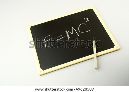 Einstein's famous equation on a blackboard