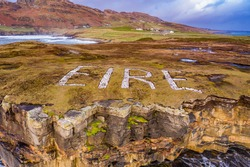 Eire marking at Muckross Head in County Donegal - Ireland.