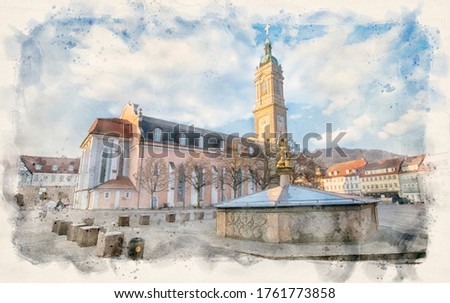 Eisenach, Germany. St George's Fountain (Georgsbrunnen) and St. George's Church on the main square. Watercolor style illustration