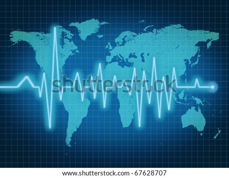 EKG ECG world health economy political condition blue
