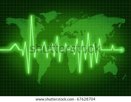 EKG ECG world health economy political condition green