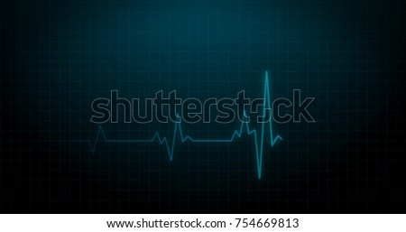 EKG Heartbeat on Monitor Recording of Pulse - Blue Healthcare 3D Rendered Illustration