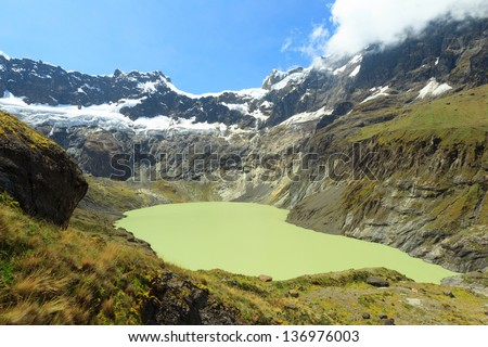 EL ALTAR VOLCANO IN SANGAY NATIONAL PARK, ECUADOR THE GREEN CRATER LAKE IS THE RESULT OF THE MELTING GLACIER