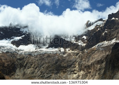 El Altar volcano, Sangay National Park, peaks covered by glacier at about 5,160 m (16,929 ft)