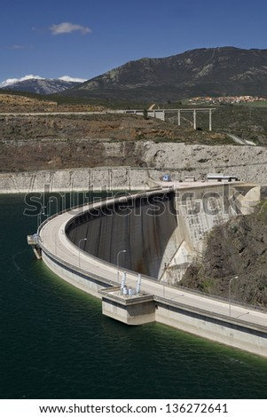 El Atazar dam Wall. Side view of the dam wall of El Atazar, Madrid, Spain